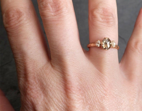 Fancy cut Champagne Diamond Engagement 14k Rose Gold Multi stone Wedding Ring byAngeline 1982