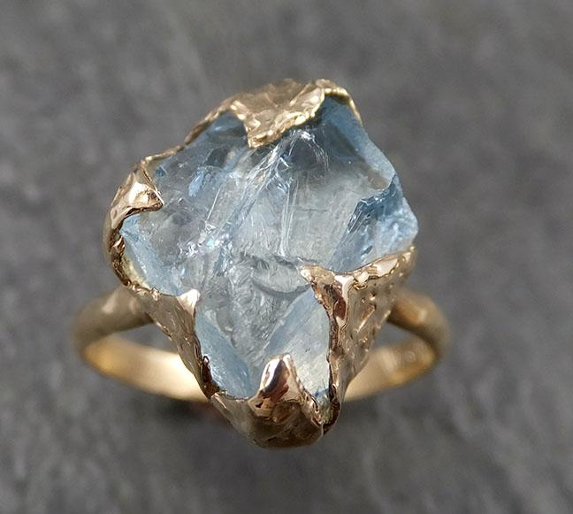 Raw uncut Aquamarine Solitaire 14k Yellow gold Ring Custom One Of a Kind Gemstone Ring Bespoke byAngeline 1614