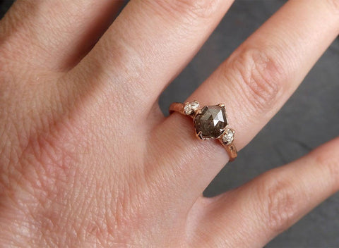 Fancy cut salt and pepper Diamond Engagement 14k Rose Gold Multi stone Wedding Ring byAngeline 1983