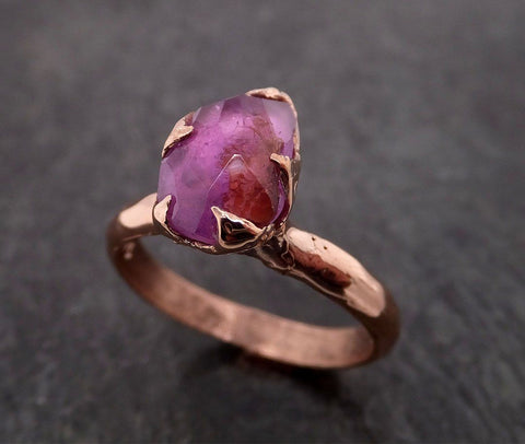 Partially Faceted Sapphire 14k rose Gold statement Cocktail Ring Custom One Of a Kind Gemstone Ring Solitaire 1987