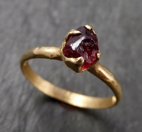 Rough Raw Natural Garnet Gemstone ring Recycled Gold One of a kind Gemstone ring 1615
