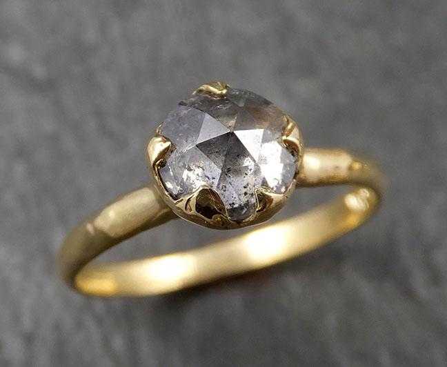 Fancy cut Salt and Pepper Diamond Solitaire Engagement 18k yellow Gold Wedding Ring byAngeline 1620