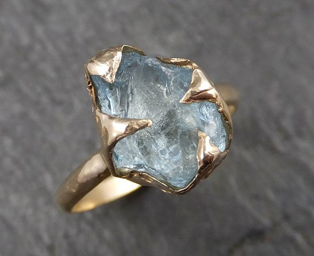 Raw uncut Aquamarine Solitaire 14k Yellow gold Ring Custom One Of a Kind Gemstone Ring Bespoke byAngeline 1613
