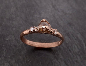 Champagne Fancy cut Diamond Engagement 14k Rose Gold Multi stone Wedding byAngeline 2001