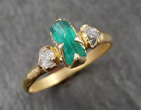 Raw Rough Emerald Conflict Free Diamonds Dainty 18k yellow Gold Ring One Of a Kind Gemstone Multi stone Engagement Wedding Ring Recycled gold 1616