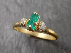 Raw Rough Emerald Conflict Free Diamonds Dainty 18k yellow Gold Ring One Of a Kind Gemstone Multi stone Engagement Wedding Ring Recycled gold 1621