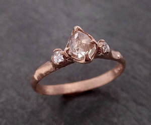 Champagne Fancy cut Diamond Engagement 14k Rose Gold Multi stone Wedding byAngeline 2004