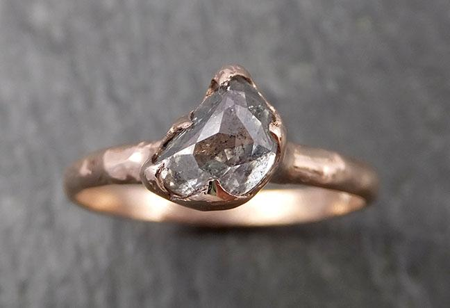 Faceted Fancy cut Salt and pepper Half Moon Diamond Engagement 14k Rose Gold Solitaire Wedding Ring byAngeline 1623