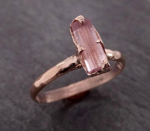 Raw Pink Tourmaline Rose Gold Ring Rough Uncut Pastel Pink Gemstone Promise engagement wedding recycled 14k Size stacking byAngeline 1997
