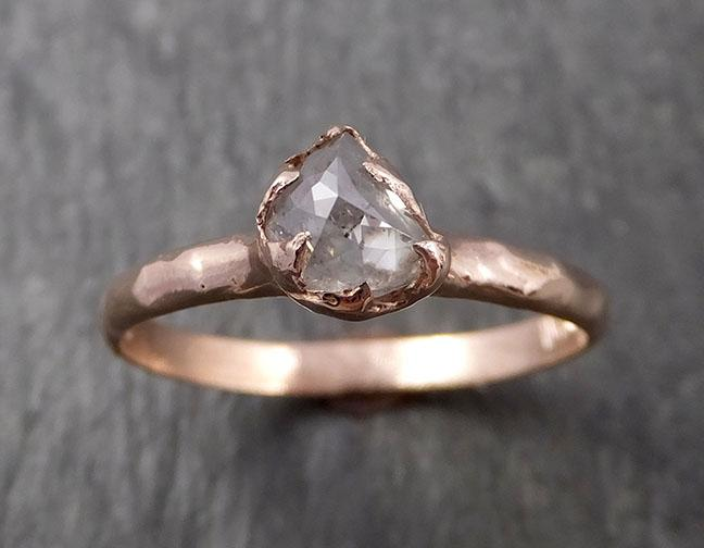 Faceted Fancy cut Salt and pepper Half Moon Diamond Engagement 14k Rose Gold Solitaire Wedding Ring byAngeline 1632