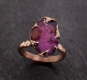 Partially Faceted Sapphire 14k rose Gold statement Cocktail Ring Custom One Of a Kind Gemstone Ring Solitaire 1996