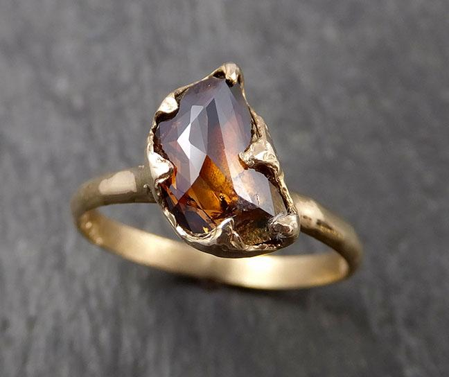 Fancy cut Cognac half moon Diamond Solitaire Engagement 14k Yellow Gold Wedding Ring Diamond Ring byAngeline 1631