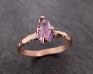 Fancy cut purple Sapphire 14k Rose gold Solitaire Ring Gold Gemstone Engagement Ring 2012