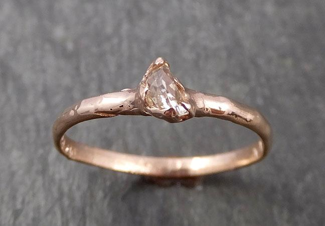 Faceted Fancy cut Champagne Half Moon Diamond Engagement 14k Rose Gold Solitaire Wedding Ring byAngeline 1633
