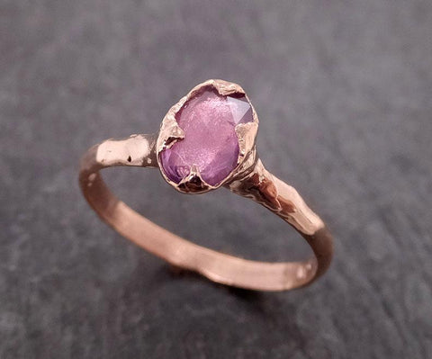 Fancy cut pink Sapphire 14k Rose gold Solitaire Ring Gold Gemstone Engagement Ring 2015