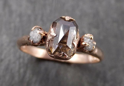 Faceted Fancy cut Champagne Diamond Engagement 14k Rose Gold Multi stone Wedding Ring Rough Diamond Ring byAngeline 1628