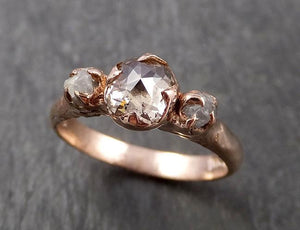 Faceted Fancy cut Champagne Diamond Engagement 14k Rose Gold Multi stone Wedding Ring Rough Diamond Ring byAngeline 1630