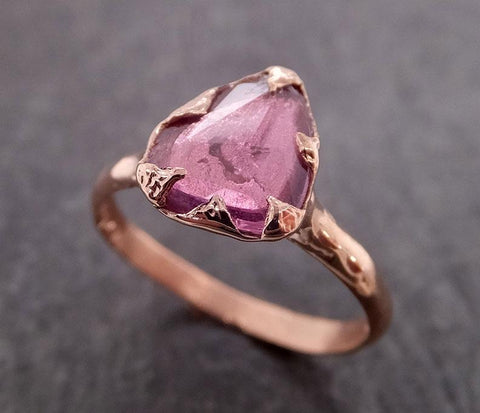 Fancy cut pink Sapphire 14k Rose gold Solitaire Ring Gold Gemstone Engagement Ring 2017