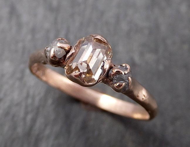 Faceted Fancy cut Champagne Diamond Engagement 14k Rose Gold Multi stone Wedding Ring Rough Diamond Ring byAngeline 1629