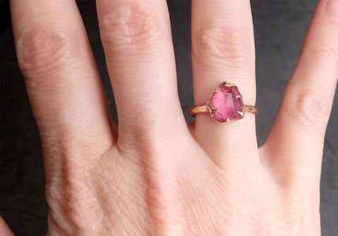 Partially Faceted Sapphire 14k rose Gold Engagement Ring Wedding Ring Custom One Of a Kind Gemstone Ring Solitaire 2010
