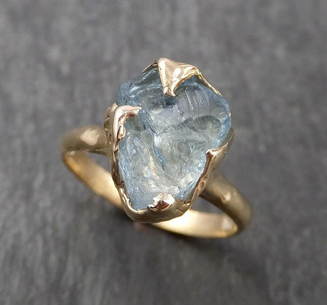 Raw uncut Aquamarine Solitaire 14k Yellow gold Ring Custom One Of a Kind Gemstone Ring Bespoke byAngeline 1624