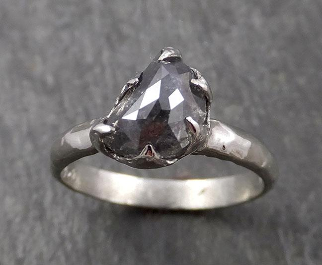 Fancy Cut Half Moon salt and pepper Diamond Solitaire Engagement 14k White Gold Wedding Ring byAngeline 1640
