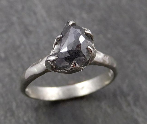 Raw Diamond Engagement Ring Rough Uncut Diamond Solitaire Recycled 14k gold Conflict Free Diamond Wedding Promise byAngeline 0430