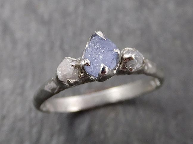Raw Montana Sapphire Diamond White Gold Engagement Ring Wedding Ring Custom One Of a Kind Gemstone Multi stone Ring 1635