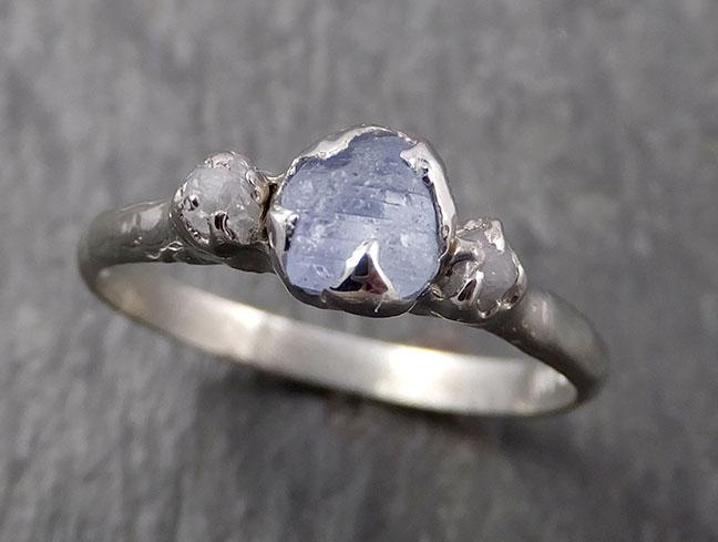 Raw Montana Sapphire Diamond White Gold Engagement Ring Wedding Ring Custom One Of a Kind Gemstone Multi stone Ring 1636