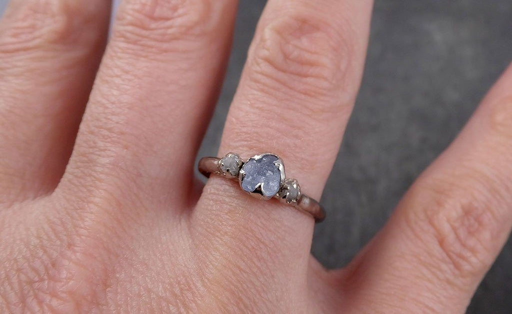 Raw Sapphire Diamond Gold Engagement Ring purple lavender Multi stone Wedding Ring Custom One Of a Kind Gemstone Ring Three stone Ring byAngeline 0435