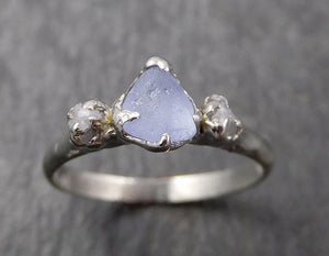 Raw Montana Sapphire Diamond White Gold Engagement Ring Wedding Ring Custom One Of a Kind Gemstone Multi stone Ring 1637
