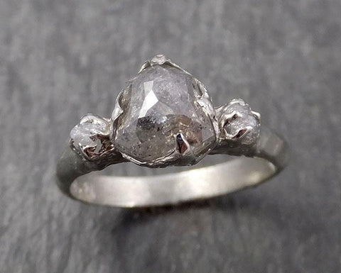 Fancy cut salt and pepper Diamond Multi stone Engagement 14k White Gold Wedding Ring Rough Diamond Ring byAngeline 1642
