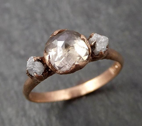 Faceted Fancy cut Champagne Diamond Engagement 14k Rose Gold Multi stone Wedding Ring Rough Diamond Ring byAngeline 1649