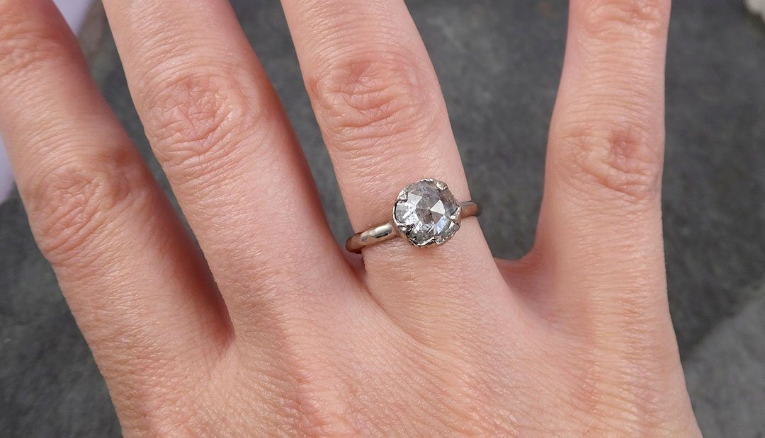 Faceted Fancy cut white Diamond Solitaire Engagement 18k White Gold Wedding Ring byAngeline 1653