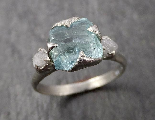 Raw Rough and Aquamarine and Diamond 14k White Gold Multi stone Ring One Of a Kind Gemstone Ring Recycled gold 1643