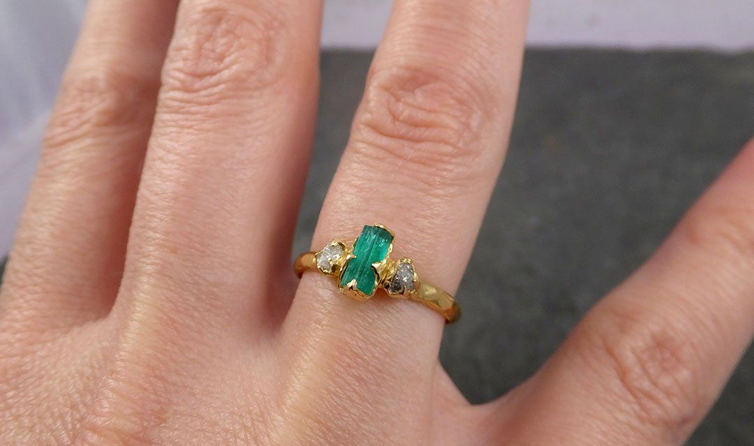 Raw Rough Emerald Conflict Free Diamonds Dainty 18k yellow Gold Ring One Of a Kind Gemstone Multi stone Engagement Wedding Ring Recycled gold 1645