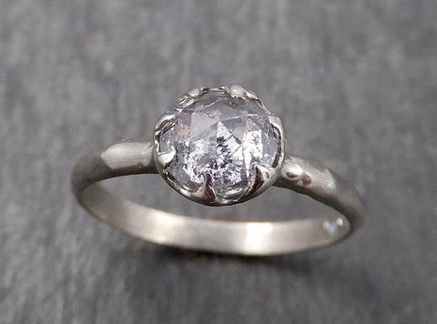 Faceted Fancy cut white Diamond Solitaire Engagement 18k White Gold Wedding Ring byAngeline 1646