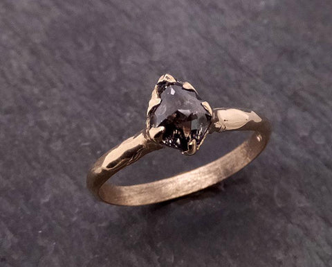 Rough Raw Black Diamond Solitaire Engagement Ring Raw 14k Gold Wedding Ring Wedding Solitaire Rough Diamond Ring byAngeline 0456
