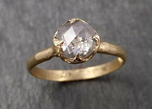 Faceted Fancy cut White Diamond Solitaire Engagement 14k Yellow Gold Wedding Ring byAngeline 1650