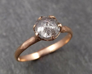 Faceted Fancy cut Salt and pepper Diamond Solitaire Engagement 14k Rose Gold Wedding Ring byAngeline 1652