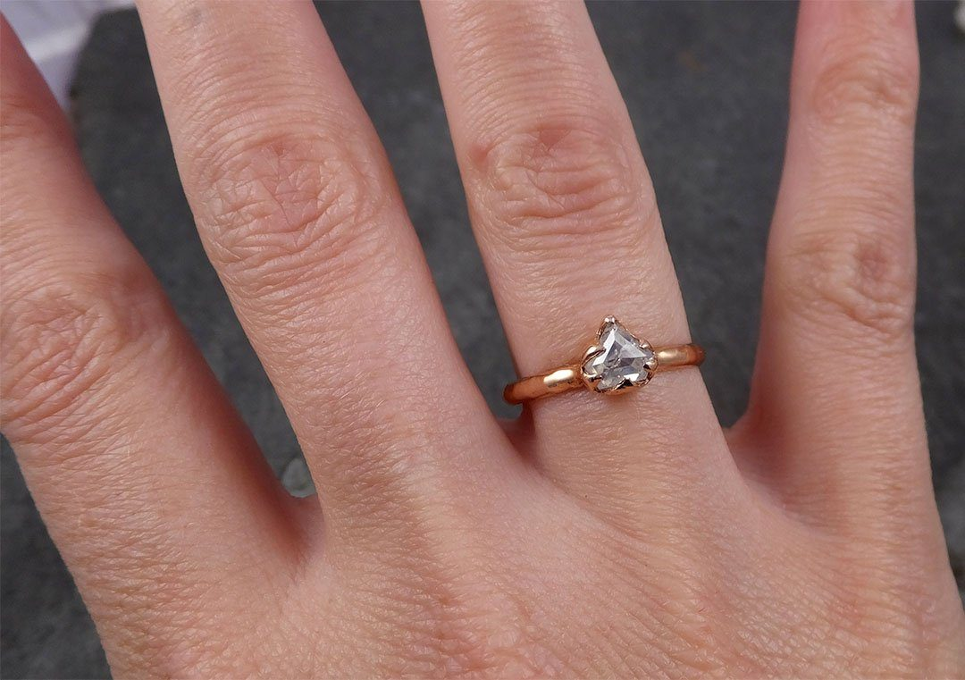 Faceted Fancy cut white Diamond Solitaire Engagement 14k Rose Gold Wedding Ring byAngeline 1644