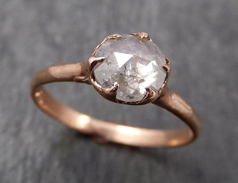 Faceted Fancy cut white Diamond Solitaire Engagement 14k Rose Gold Wedding Ring byAngeline 1651