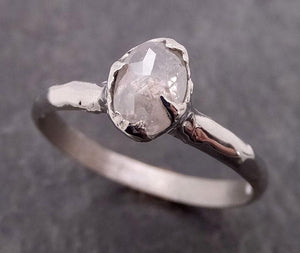 Fancy cut White Diamond Solitaire Engagement 14k White Gold Wedding Ring byAngeline 2032