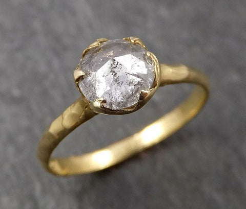 Fancy cut White Diamond Solitaire Engagement 18k yellow Gold Wedding Ring Diamond Ring byAngeline 1648