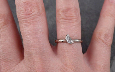 Diamond solitaire Engagement Ring 18k Rough yellow gold Uncut Conflict Free Diamond Wedding Promise byAngeline 0460
