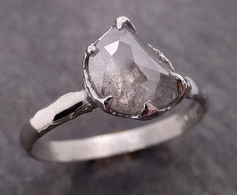 Fancy Cut Half Moon Diamond Solitaire Engagement 14k White Gold Wedding Ring byAngeline 2036