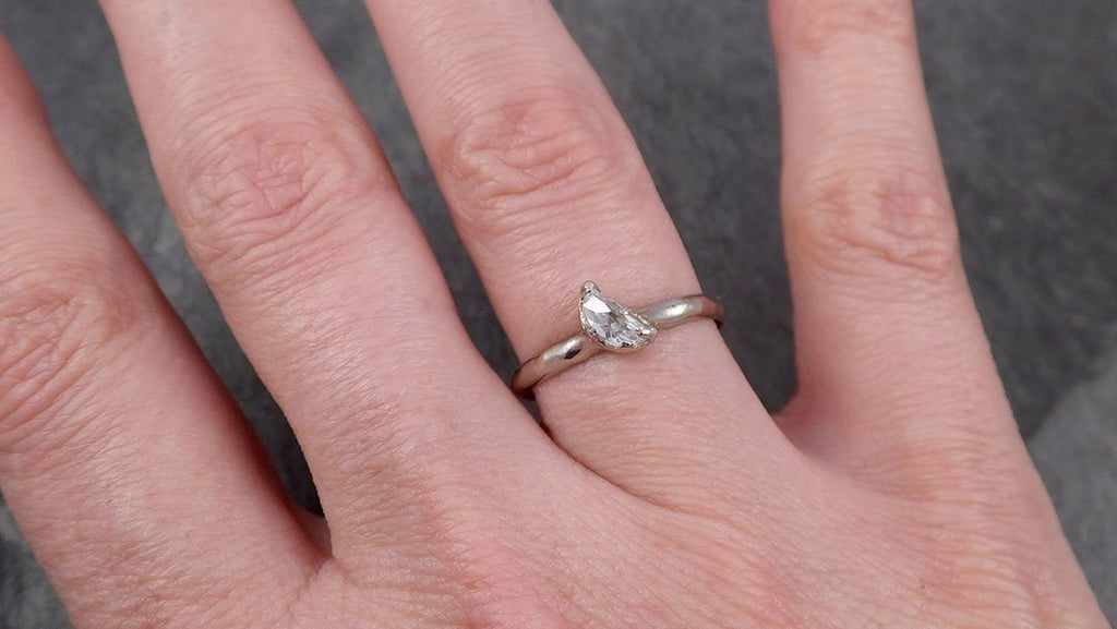 Rough Uncut Diamond Engagement Ring Rough Diamond Solitaire 14k white gold Conflict Free Diamond Wedding Promise byAngeline 0459