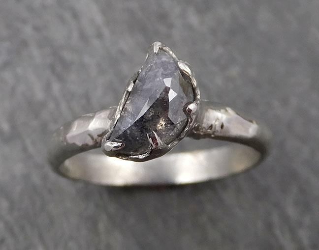 Fancy Cut Half Moon salt and pepper Diamond Solitaire Engagement 14k White Gold Wedding Ring byAngeline 1660