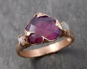 Sapphire Partially Faceted Multi stone Rough Diamond 14k rose Gold Engagement Ring Wedding Ring Custom One Of a Kind Gemstone Ring 1669