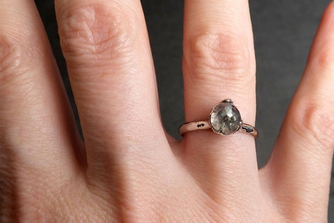 Fancy cut salt and pepper Diamond Solitaire Engagement 14k White Gold Wedding Ring byAngeline 2038